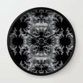 Delicate Silver Filigree on Black Fractal Abstract Wall Clock