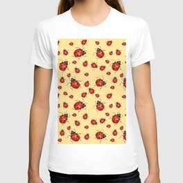 """I LOVE RED LADY BUGS"" ON CREAM COLOR T-shirt"