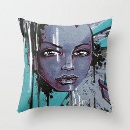 Street Girl Blue Throw Pillow