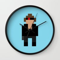 terminator Wall Clocks featuring The Terminator by Pixel Icons