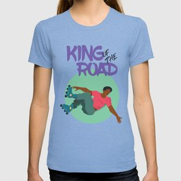 The guy on roller skates make a trick. T-shirt