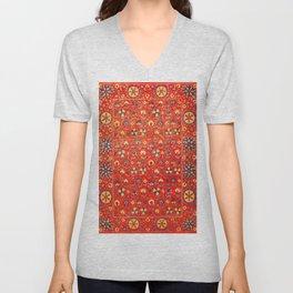 Boho Orange Oriental Traditional Moroccan Style Illustration  Unisex V-Neck