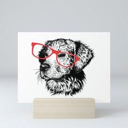 dog wearing glasses Mini Art Print