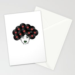 Vinyl Records Afro Hair Black Woman Stationery Cards
