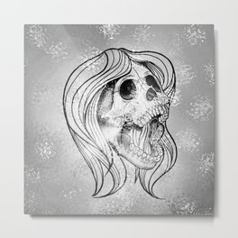 Singing Lady SKULL,silver Metal Print