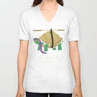 ninja turtle V-neck T-shirts featuring ninja - purple by Louis Roskosch