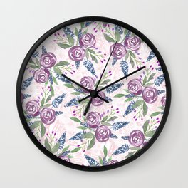 Summer pink purple blue green watercolor roses floral Wall Clock