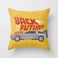 jenna kutcher Throw Pillows featuring The future is coming by Beardy Graphics