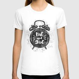 Hand drawn grunge illustration of the alarm clock with handwriting inscription Rise an Shine T-shirt
