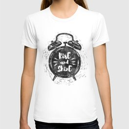 Hand drawn grunge illustration of the alarm clock with handwriting inscription Rise an Shine T-shirt