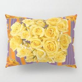 YELLOW ROSES PUCE STRIPE PATTERN Pillow Sham