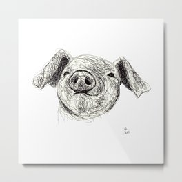 Baby Animals - Pig Metal Print