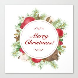 Wreath with christmas decoration Canvas Print