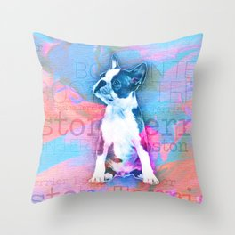 Boston Terrier Watercolor Digital Art Throw Pillow