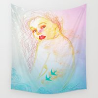 tattoos Wall Tapestries featuring the dream mermaid with bird tattoos by Erika