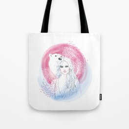 Girl and Polar Bear Tote Bag