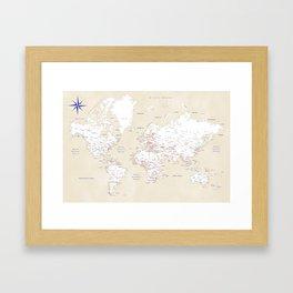 """Cream, white, red and navy blue world map, """"Deuce"""" Framed Art Print"""