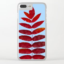 Red Sumac Leaves Clear iPhone Case