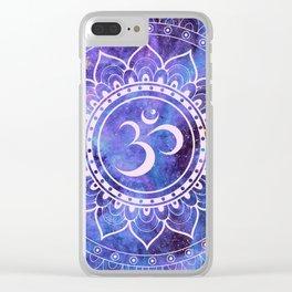 Om Mandala Purple Lavender Blue Galaxy Clear iPhone Case