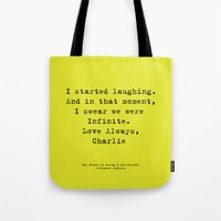 the perks of being a wallflower Tote Bags featuring Perks of Being a Wallflower  by Mackenzie Hahn