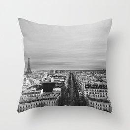 Black and White Paris Throw Pillow