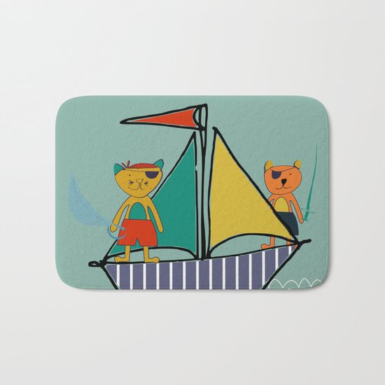Pirate Boat teal Bath Mat