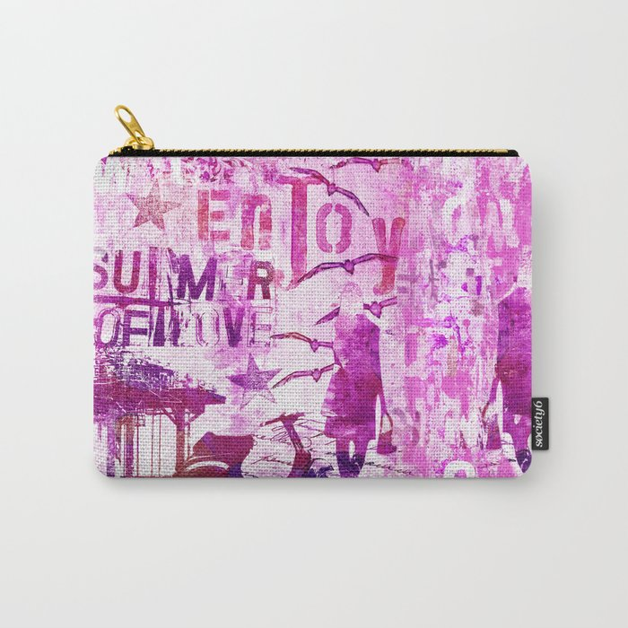 pink urban mixed media art Carry-All Pouch