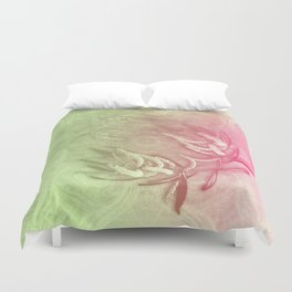 Pink and green wattle and kaleidoscope Duvet Cover