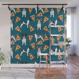 Rat Terrier pizza dog breed pet portrait dog pattern dog breeds gifts for dog lovers Wall Mural