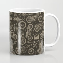 Dark Vintage Motorcycle Pattern Coffee Mug