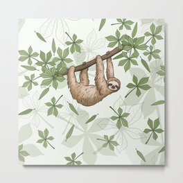 Sloths Hanging In The Forest - pale green Metal Print