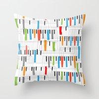 piano Throw Pillows featuring piano by mondebettina