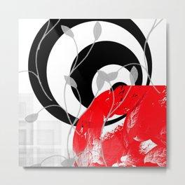 red wave abstract geometric digital art Metal Print