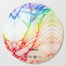 Rainbow Broken Damaged Cracked out back White iphone Cutting Board