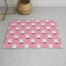 Happy smiling toilet paper pattern on pink Rug