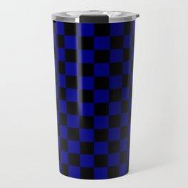 Black and Navy Blue Checkerboard Travel Mug