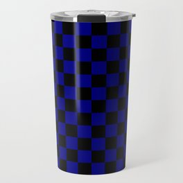 Black and Navy Blue Checkerboard Travel Mug
