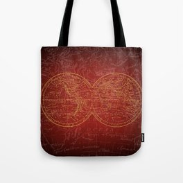 Antique Navigation World Map in Red and Gold Tote Bag