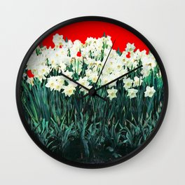 Red Whites Daffodils/Narcisus Spring Blue-Green Garden Wall Clock