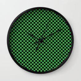 Checkered St. Patty Green Wall Clock