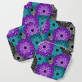 Dahlia Multicolored Floral Abstract Pattern Coaster