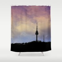 seoul Shower Curtains featuring Seoul Tower - Sky Colors by Zayda Barros