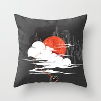 uncharted Throw Pillows featuring Uncharted Voyage by Marco Angeles