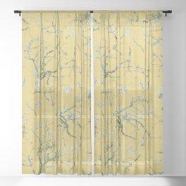 Vintage & Shabby Chic - Original Van Gogh Almond Blossoms, Seamless Pattern yellow  Sheer Curtain