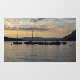 Sunset Annecy Boats Rug
