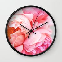 peonies Wall Clocks featuring Peonies Forever by Ez Pudewa
