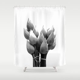 Black and White Lotus Buds Shower Curtain