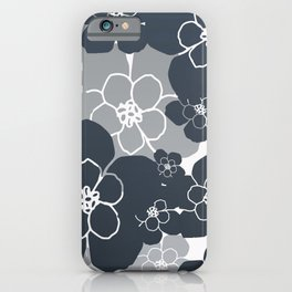 Flower Blossoms Grey pattern Design iPhone Case