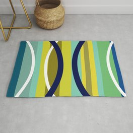 Midcentury Modernism Stripes & Circles Rug