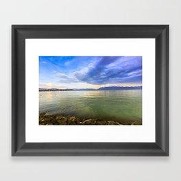 Blue Sunset over the Lake Framed Art Print